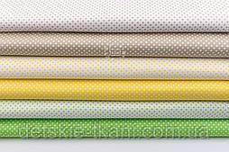 """Набор тканей 50*50 из 6-х шт """"Пунктирный горошек"""" салатово-жёлтого цвета (№140)"""