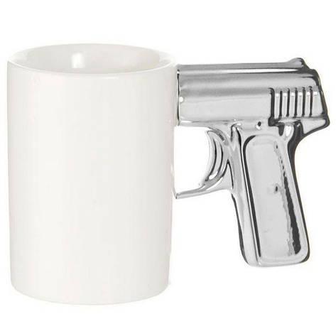 Чашка Пистолет белая с серебряной ручкой (123987), фото 2