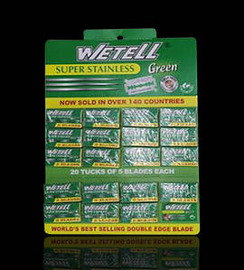 Лезвия Wetell из нержавеющей стали Super Stainless Green (100 шт на планшете)