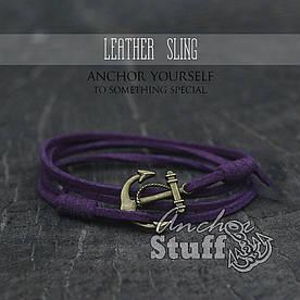 Браслет з якорем Anchorstuff - Leather Sling Purple