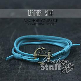 Браслет з якорем Anchorstuff - Leather Sling Aqua