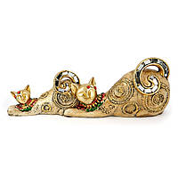 """Фигурки котов """"Кошка с котёнком"""" лежащих золотистых ZHS74316-A"""