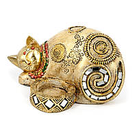 """Статуэтка кошки подсвечник """"Мурлыка"""" с закрытыми глазами ZHS74327-A"""