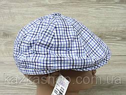 Мужская кепка хулиганка, восьмиклинка, в клетку синего цвета, сезон весна-лето, размеры 56-60 см, фото 3