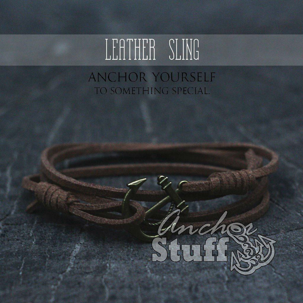 Браслет з якорем Anchorstuff - Leather Sling Brown