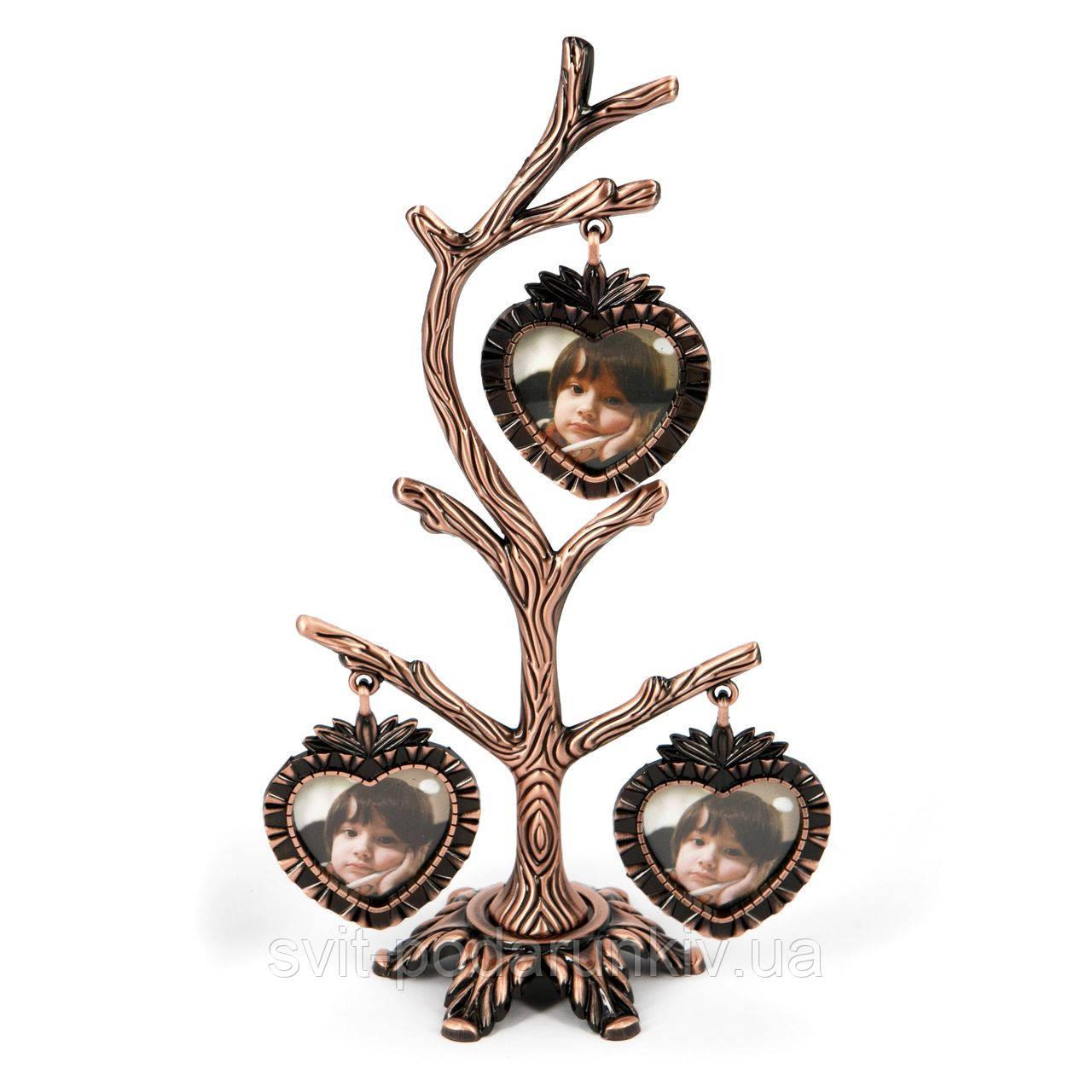 Фамільне дерево або рамка сімейне дерево на 3 фото в вигляді сердечок YLSV027