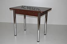 Стол кухонный трансформер раскладной на металлический ногах цвет венге темный