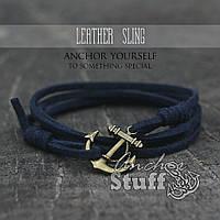 Браслет з якорем Anchorstuff - Leather Sling Navy