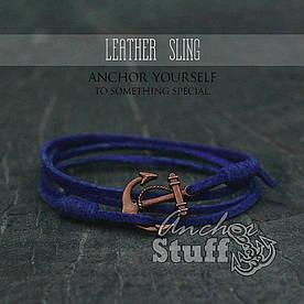 Браслет з якорем Anchorstuff - Leather Sling Royal