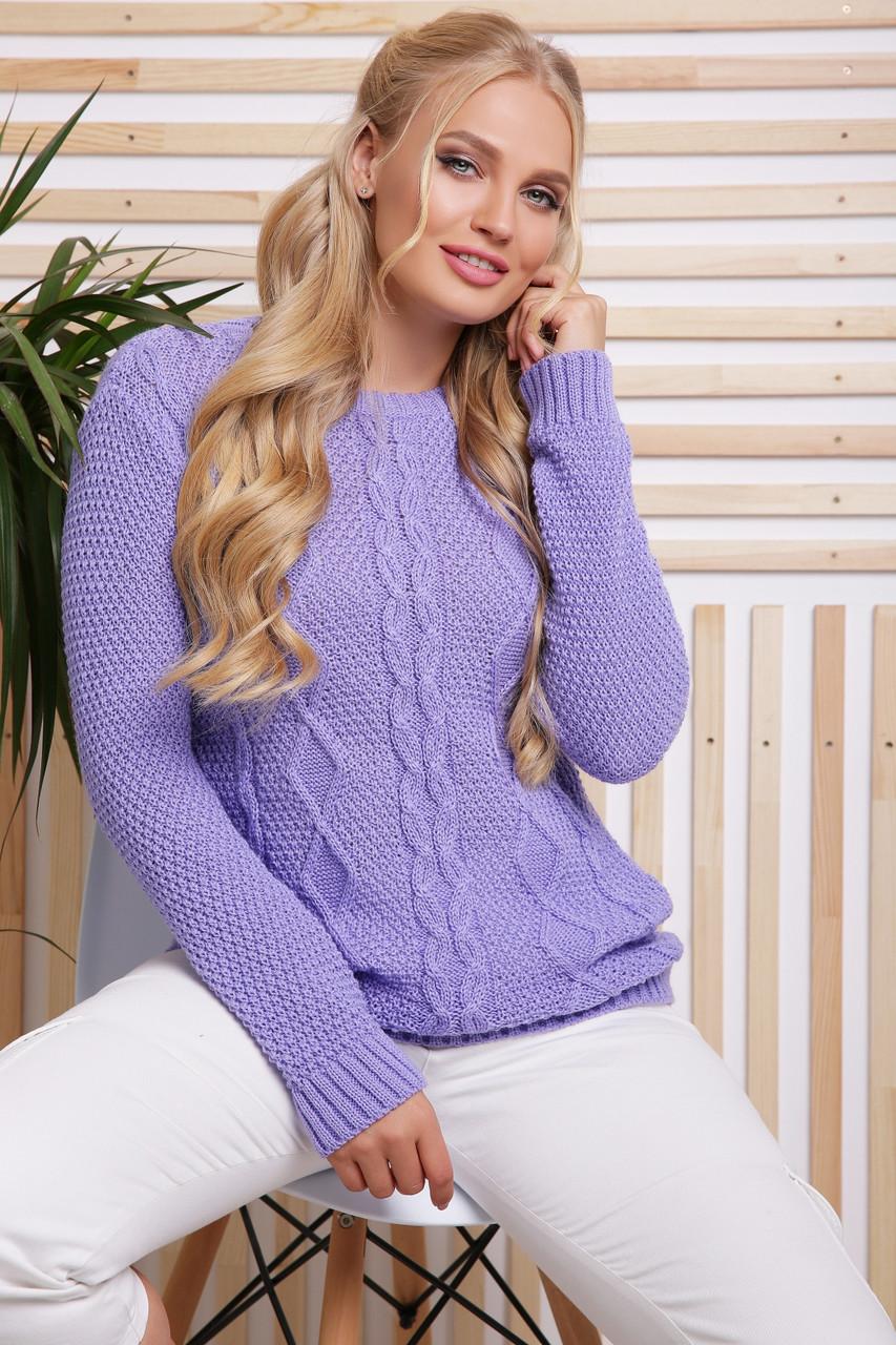 Стильный женский фиолетовый свитер с красивыми узорами большой размер