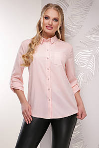 Классическая женская блузка цвета пудра с длинным рукавом с подворотом