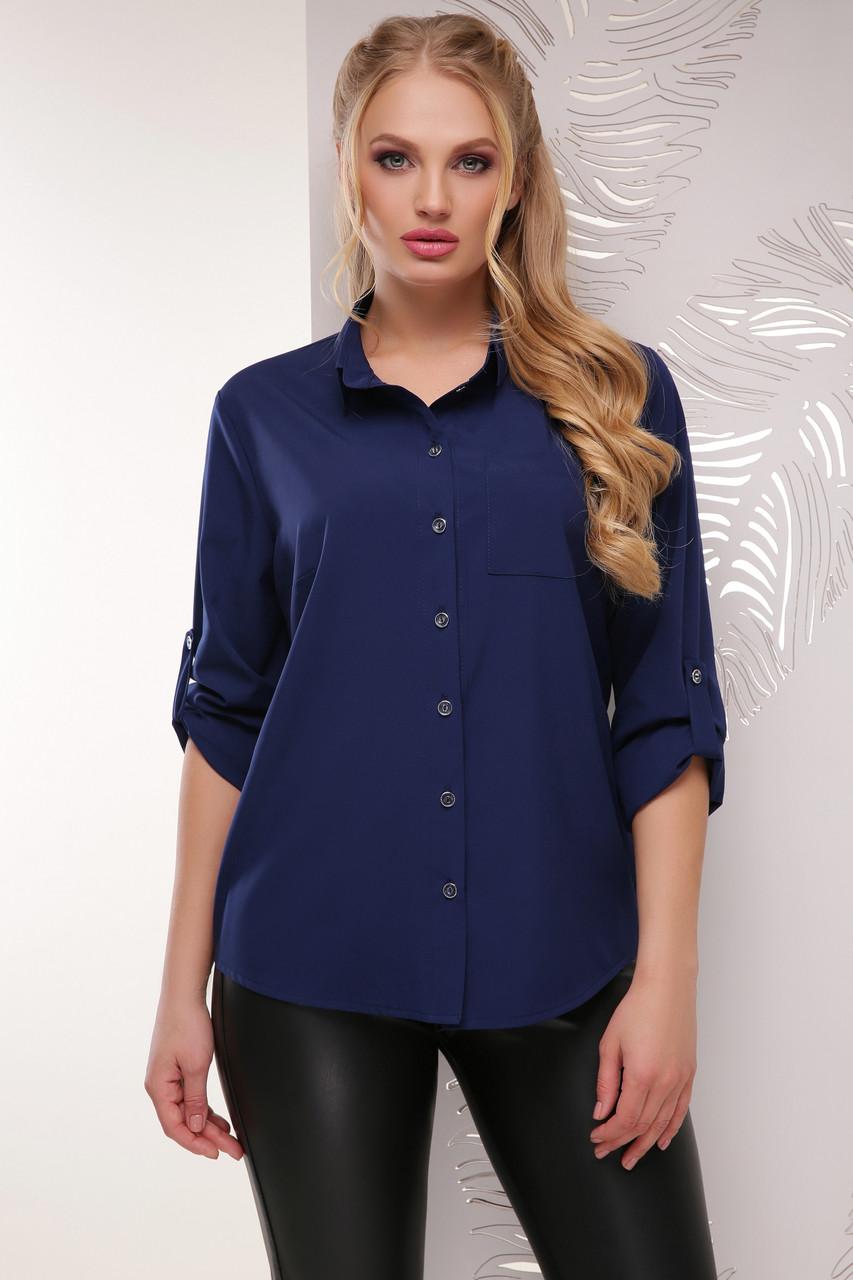 Классическая женская темно-синяя блузка с длинным рукавом с подворотом