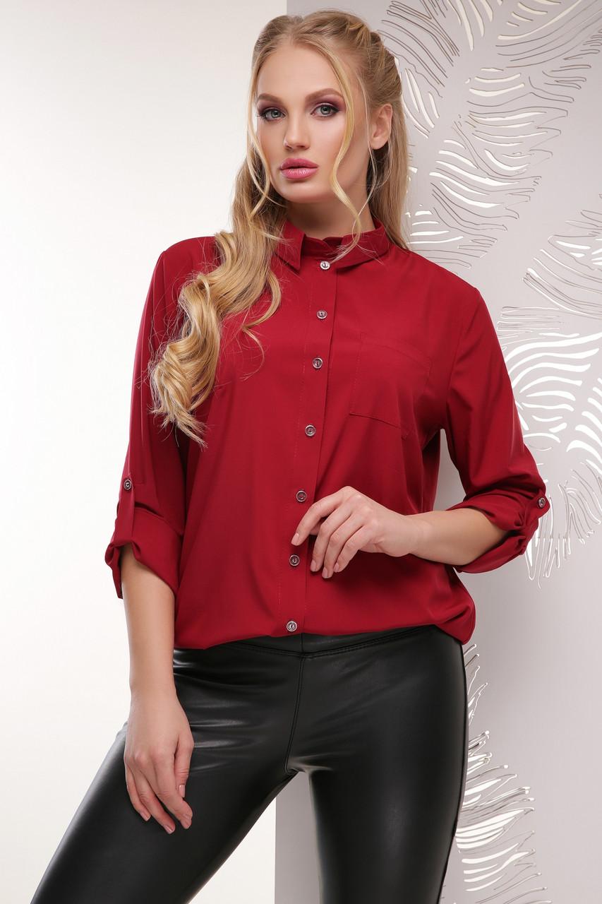 Классическая женская бордовая блузка с длинным рукавом с подворотом