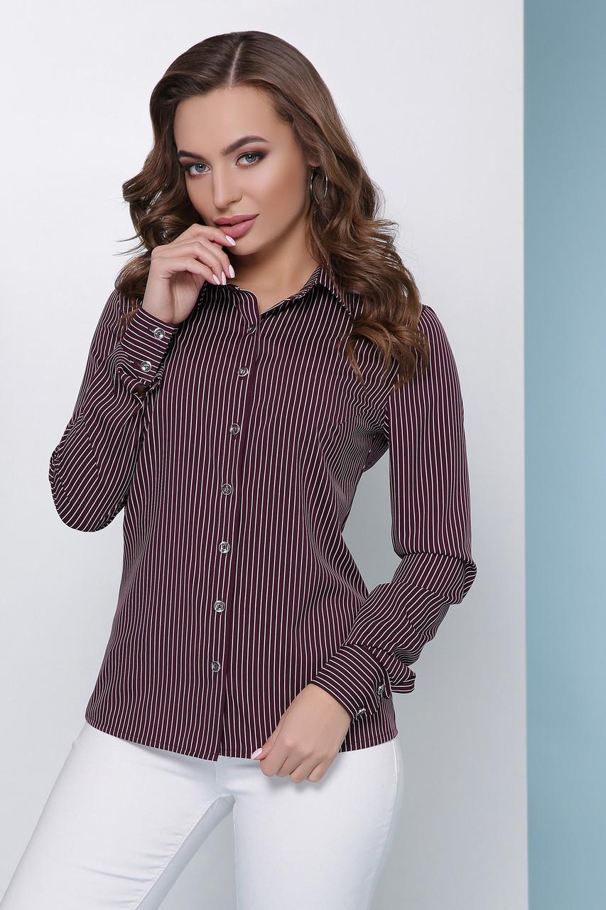 Классическая женская блузка баклажанового цвета с длинным рукавом в полоску