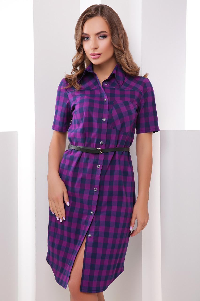 Приталенное платье-рубашка с короткими рукавами средней длины фиолетовое в клетку