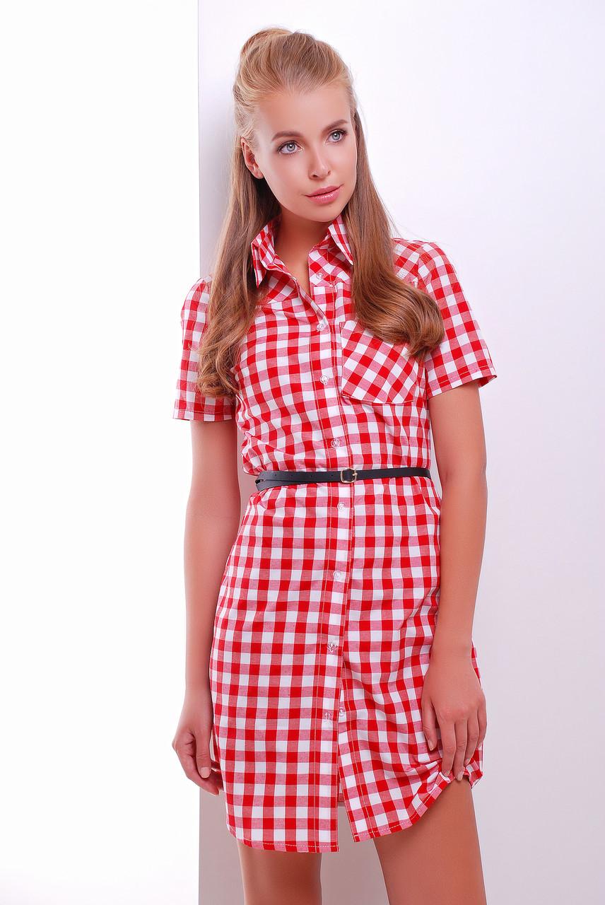 Приталенное платье-рубашка с короткими рукавами средней длины красно-белое в клетку