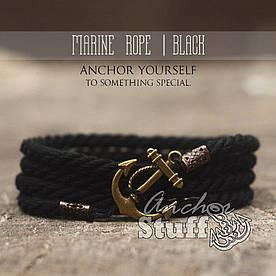 Браслет з якорем Anchorstuff - Marine Rope Black