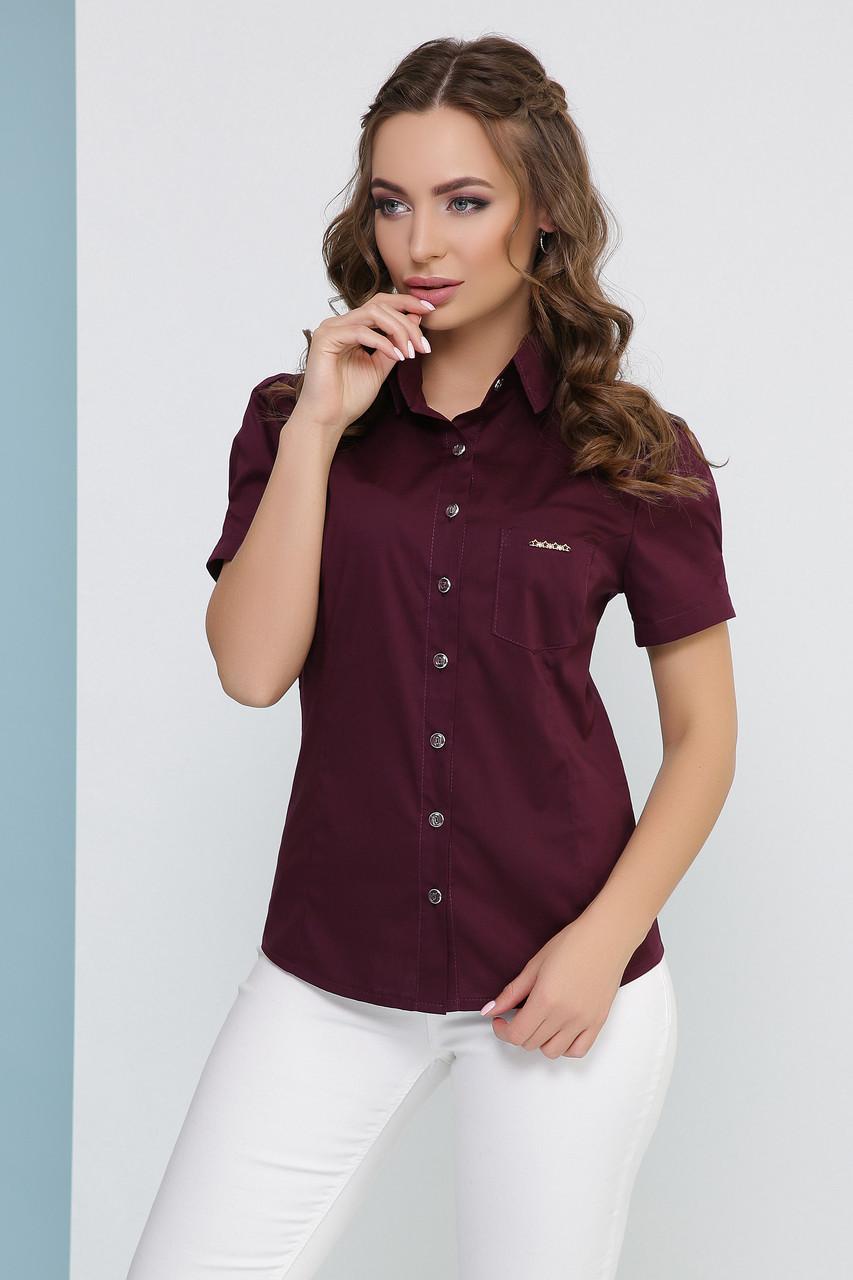 Легкая женская однотонная блузка с короткими рукавами и карманом цвет сливовый
