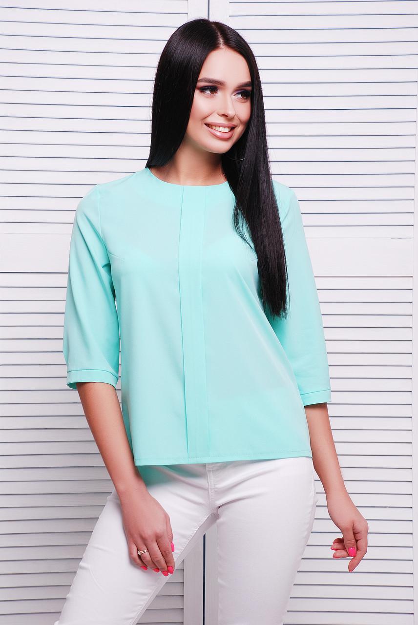 Красивая женская блузка с центральной планкой и рукавами три четверти цвет мятный