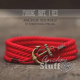 Браслет з якорем Anchorstuff - Marine Rope Red