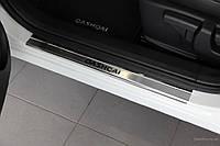 Накладки на пороги Nissan Qashqai (ниссан кашкай), логотип , нерж.