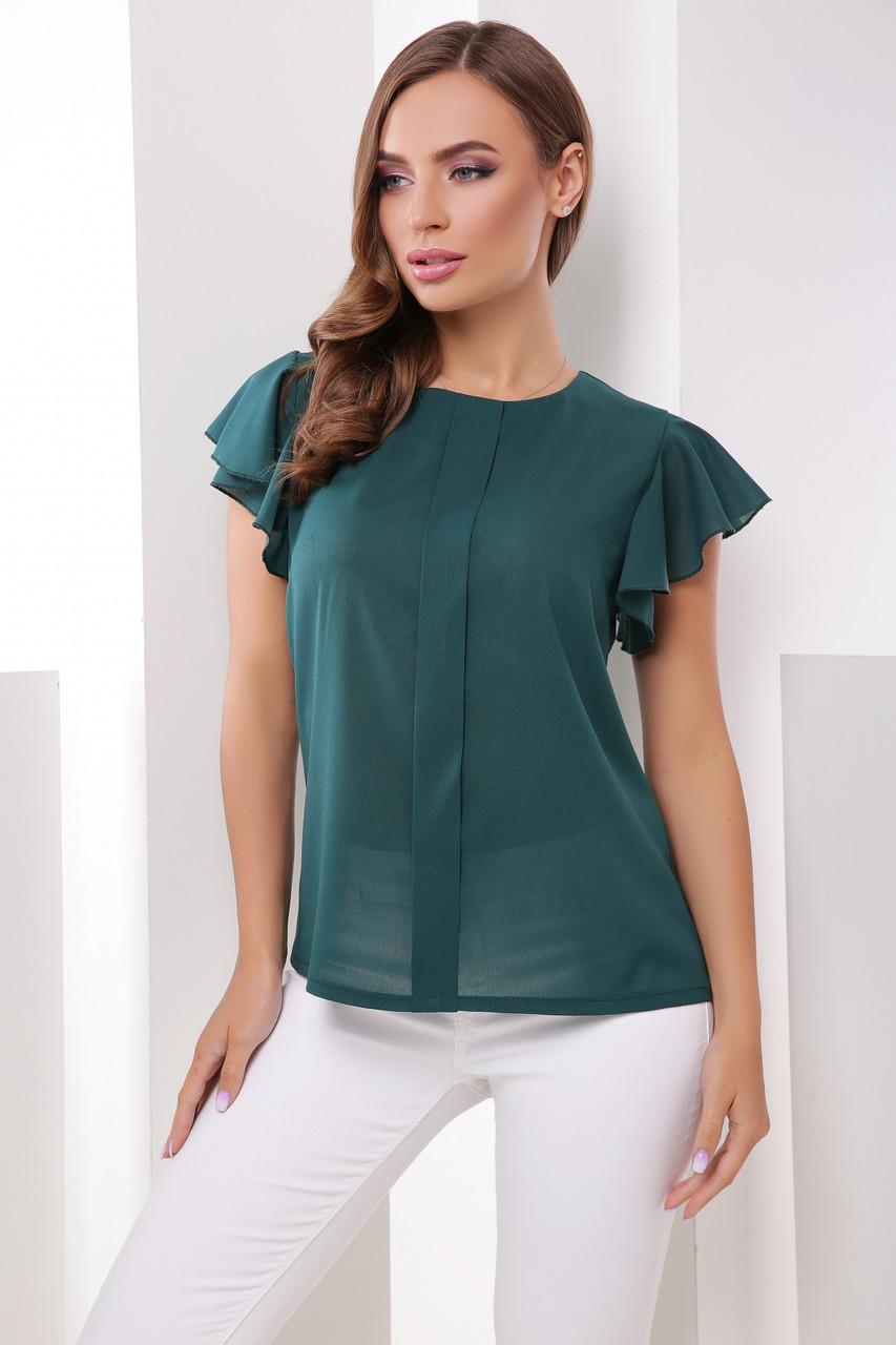 Базовая однотонная классическая зеленая блузка с короткими рукавами-воланами