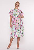 Свободное платье летнее с нежным принтом, с 52-58 размеры, фото 1