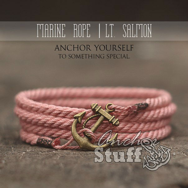 Браслет з якорем Anchorstuff - Marine Rope Pink