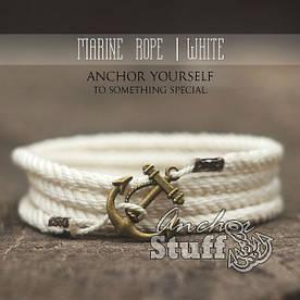 Браслет з якорем Anchorstuff - Marine Rope White