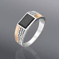 Серебряное мужское кольцо - печатка с ониксом и золотом