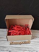 Коробка 120*100*80 мм крафт для подарка с красным наполнителем , для сувенира, для мыла, косметики, пряника