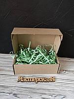 Коробка 120*100*80 мм крафт для подарка с салатовым наполнителем , для сувенира, для мыла, косметики, пряника