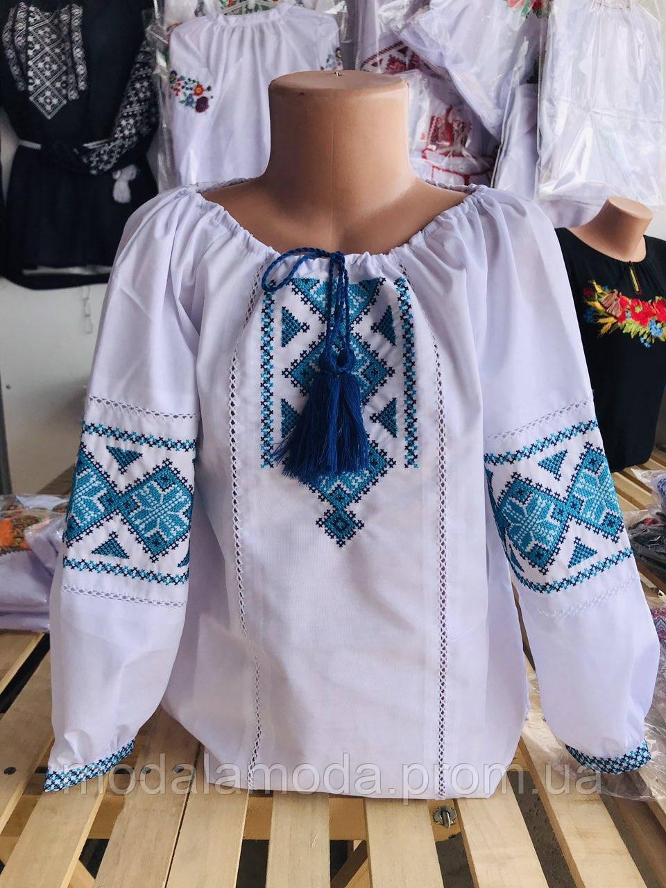 Вышиванка для девочки с украинскими красивыми цветами