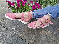 Босоножки  из итальянской замши Инди пудра, фото 1