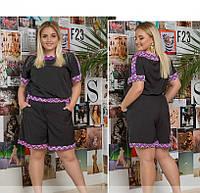 / Размер 48-50,52-54 / Женский костюм летний большого размера / 582-Черный