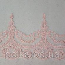Кружево стабильное, цвет розовый/пудровый, ширина 15см (1упаковка=9м)