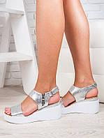 Серебряные женские босоножки на платформе натуральная кожа, фото 1