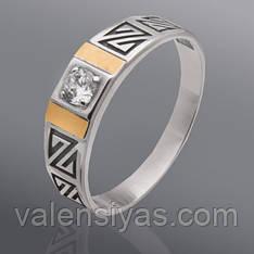 Перстень мужской серебряный с золотом