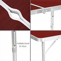 Стол для пикника с 4 стульями (раскладной столик чемодан) 120х60х55/60/70 см (Folding Table), фото 3