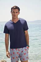 Мужская футболка с v образным вырезом Fruit of the Loom темно-синий