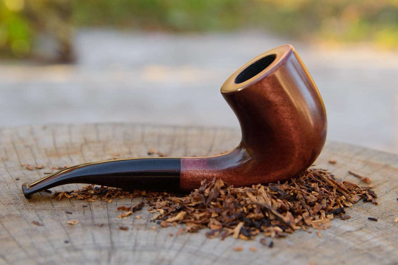 Трубка KAF231 Bent в стиле Шерлока Холмса классическая из дерева груши с эбонитовым мундштуком