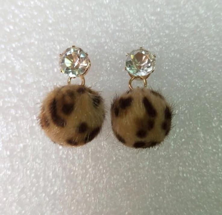 Серьги Помпон Леопард/бижутерия/цвет коричневый