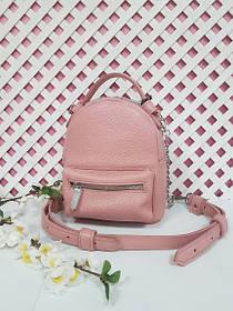 """Рюкзак-сумка""""Мини"""" натуральная кожа, розовый флотар"""