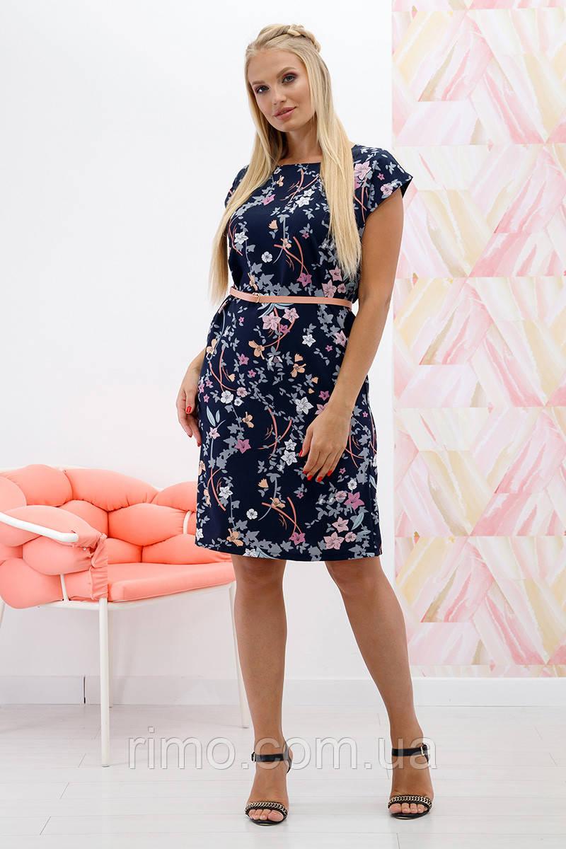 b74dd637ade0fff Платье летнее большого размера Мадонна веточка синий - Rimo интернет-магазин  одежды в Харькове