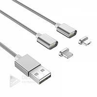 Кабель USB для зарядки і синхронізації 2in1 micro V8, магнітний, 360 °, сірий, кабель для зарядки, кабель для синхронізації, USB кабель