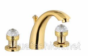 Смеситель для умывальника на 3 отверстия со Сваровски Bugnatese Axo 612 золото