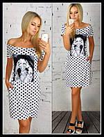 Платье короткое с принтом в горошек