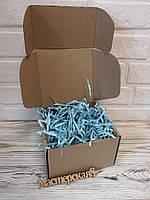 Коробка 150*150*9.5 мм крафт для подарка с голубым наполнителем , для сувенира, для мыла, косметики, пряника