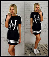 Платье-туника  с надписью LOVE