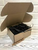 Коробка 150*150*9.5 мм крафт для подарка с чёрным наполнителем , для сувенира, для мыла, косметики, пряника